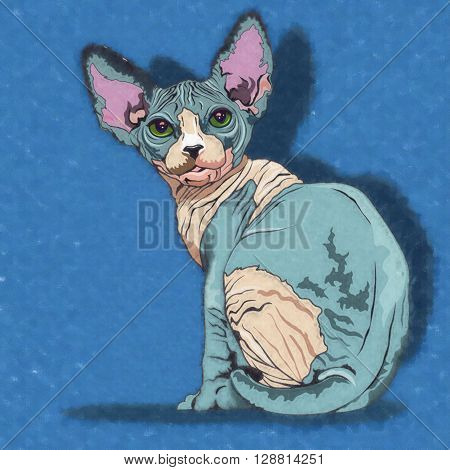Sphynx Cat. Watercolor sketch illustration of a cat at home.