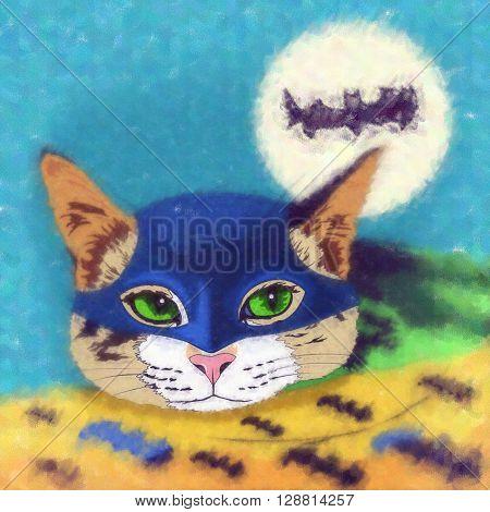 Batman Cat. Watercolor sketch illustration of a cat at home.
