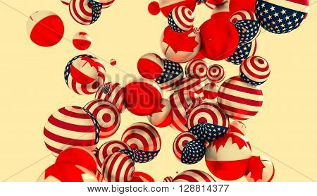 Large group of orbs or spheres levitation in empty space. 3D rendering. USA and Canada flags