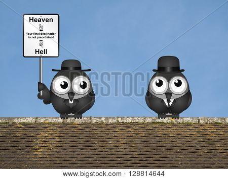 Bird vicar with destination heaven or hell sign and worried businessman perched on a rooftop against a clear blue sky