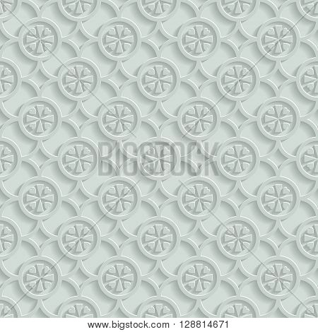 Paper gray seamless pattern background of geometric shapes and hearts. Vector illustration