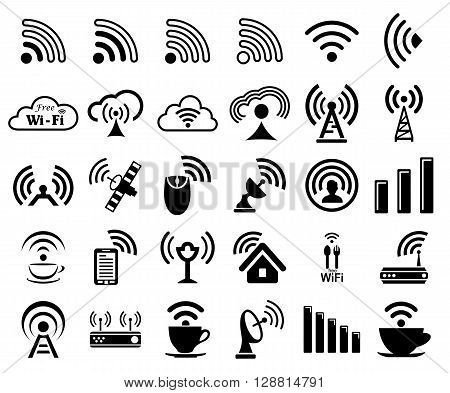 Set of thirty different black vector wireless and wifi icons for remote access and communication via radio waves
