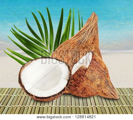 Fresh closed coconut and two halves of open coconut with green palm leaf on beautiful beach and ocean background.