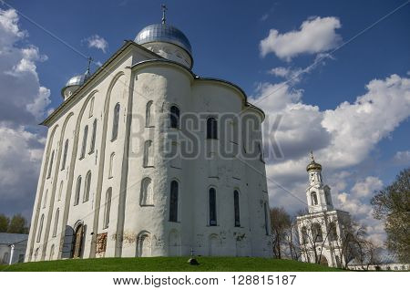 Veliky Novgorod, Russia - May 3, 2016: Saint George's Cathedral Russian orthodox Yuriev Monastery in Great Novgorod (Veliky Novgorod.) Russia
