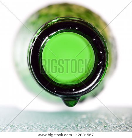 wet green bottle macro