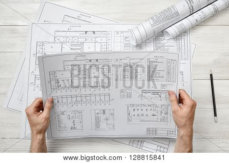 Hands of architect holding a drawing sketch. Workplace of architect. Engineering work. Construction and architecture. Architect drawing. Project.