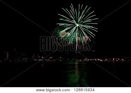 Firework over sea San Diego Califronia 4th of july