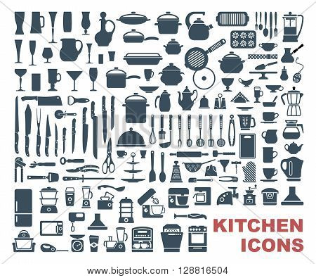 Set icons of dishware, utensils and kitchen appliances