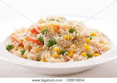 home made vegan or vegetarian vegetable fried rice