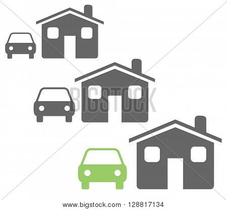 Green motor car parked outside a house, environmental concept on a white background.