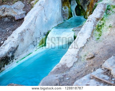 Natural Underground Mineral River And Public Bathtubs Of Cascade With Pure Blue Water Of Mashuk Moun