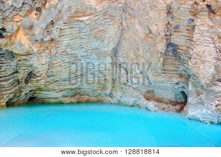Beautiful Natural Underground Karst Mineral Lake Proval With Pure Blue Water Of Mashuk Mountain In P