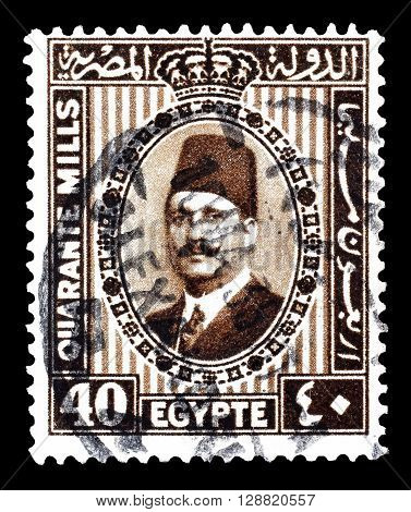 EGYPT - CIRCA 1932 : Cancelled postage stamp printed by Egypt, that shows king Fuad.
