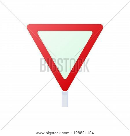 Yield triangular road sign icon in cartoon style on a white background