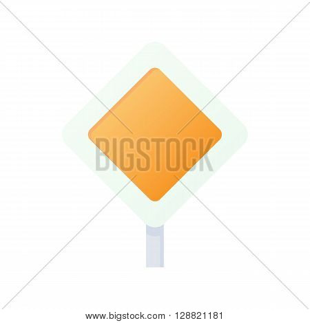 Priority road sign icon in cartoon style on a white background