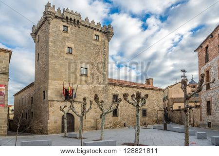 AVILA,SPAIN - APRIL 23,2016 -Place Corral de Las Campanas in Avila. Avila is a Spanish town located in the autonomous community of Castile and Leon .