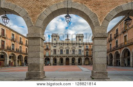 AVILA,SPAIN - APRIL 23,2016 -View at the Town Hall of Avila. Avila is a Spanish town located in the autonomous community of Castile and Leon .