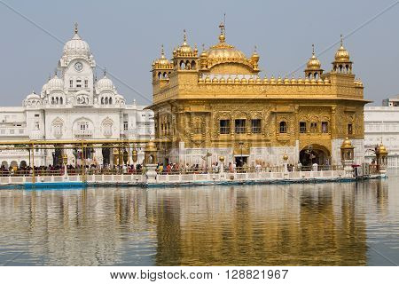 AMRITSAR INDIA - SEPTEMBER 26 2014: Unidentified Sikhs and indian people visiting the Golden Temple in Amritsar Punjab India. Sikh pilgrims travel from all over India to pray at this holy site