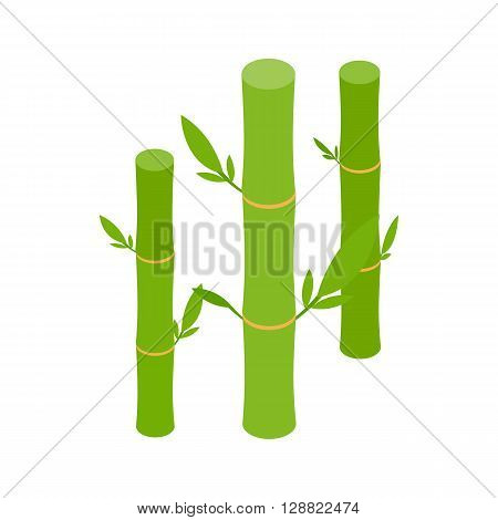 Green bamboo stems icon in isometric 3d style on a white background