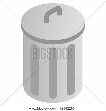 Grey trash can icon in isometric 3d style on a white background