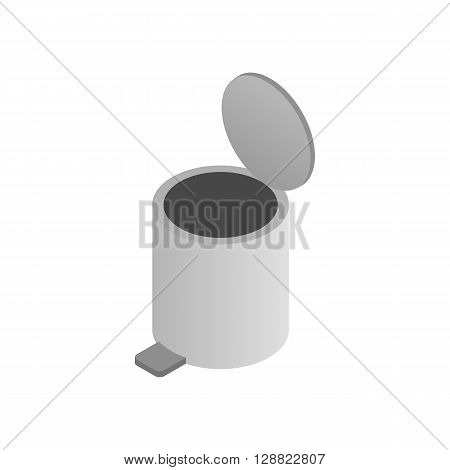 Pedal dust bin icon in isometric 3d style on a white background