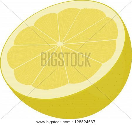 half of  yellow lemon, lime  isolated on white