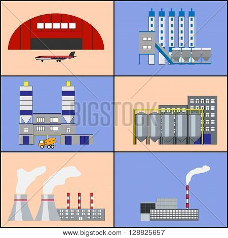 Industrial factory buildings manufactory hangar with plane heat electric station plant icons set. Modern infographic flat design. Colorful template for you design web mobile applications. Vector