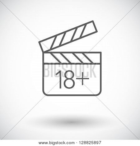 Adult movie clapper. Single flat icon on white background. Vector illustration.