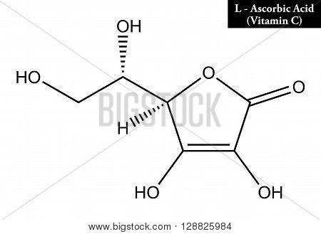 Molecular structure of L-ascorbic acid (vitamin C)