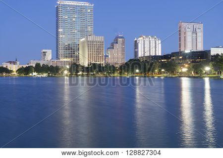 Office buildings on the lake at Orlando, Florida