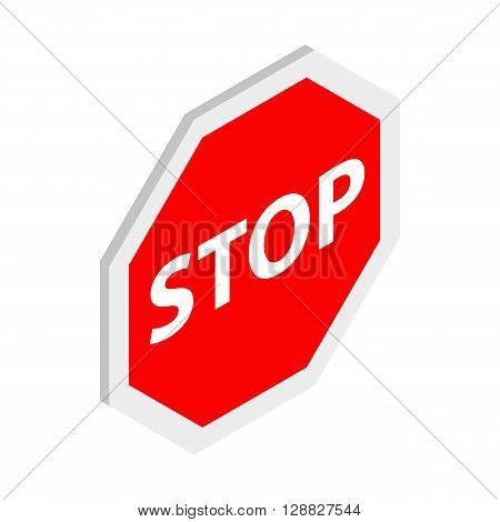 Stop sign icon in isometric 3d style on a white background