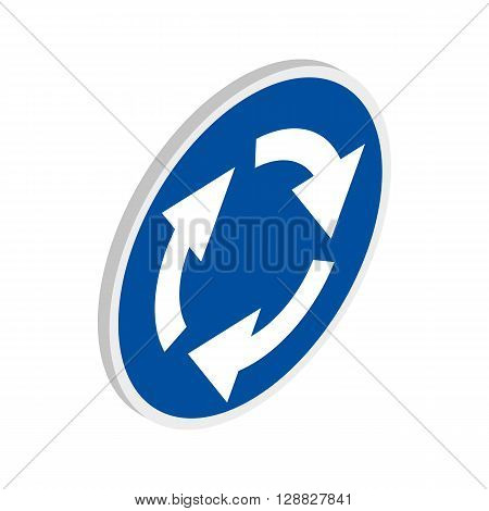 Blue round road sign with white arrows icon in isometric 3d style on a white background