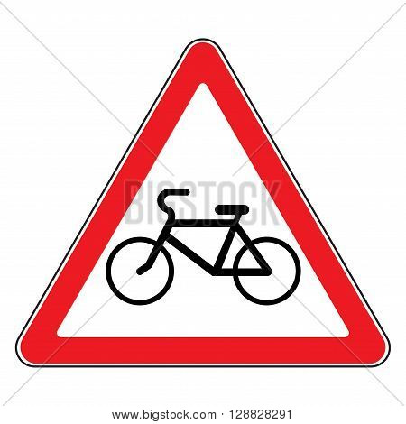 Bicycle traffic sign. Warning symbol in a red triangle. Emblem indicating of passing bicycles rules. Road icon isolated on white background. Bikes allowed emblem. Stock Vector illustration
