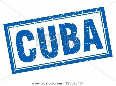 Cuba blue square grunge stamp on white