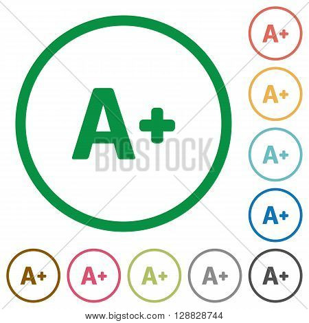 Set of Increase font size color round outlined flat icons on white background