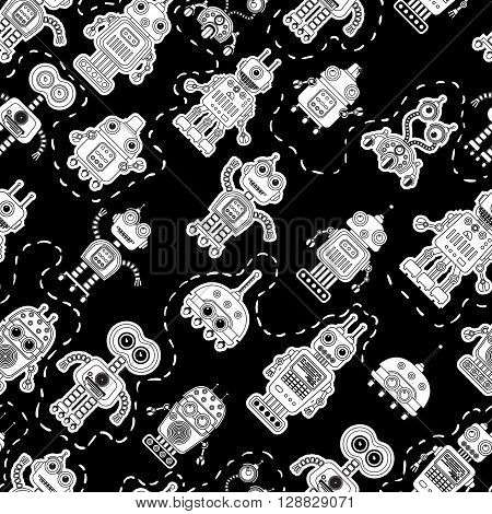 Seamless pattern with cute vintage robots. Black and white background with retro robots. Toy robots vector texture. Vector illustration. Can use fore textile print, wallpeper, wrapping paper, linen.