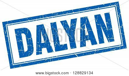 Dalyan blue square grunge stamp on white