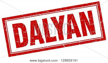 Dalyan red square grunge stamp on white