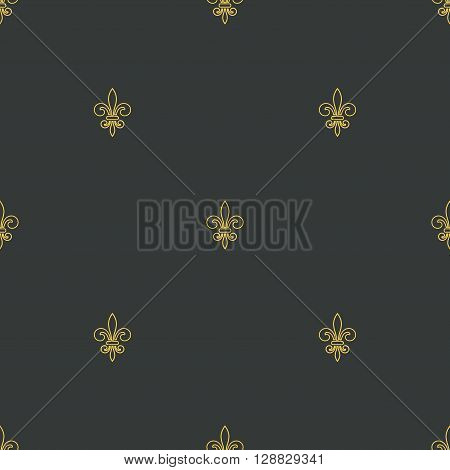 Seamless pattern with gold fleur-de-lis on gray background. Graphics design for wallpaper wrapping tiles fabric apparel print production. Fleur de lis royal lily texture in antique style. Vector
