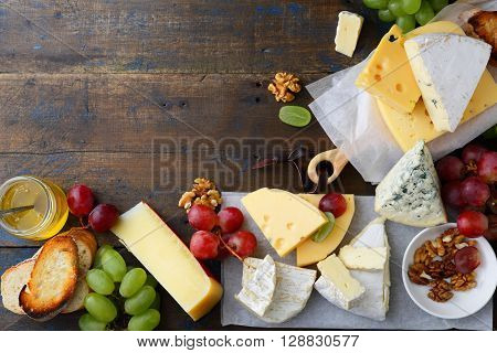 Set Of Cheeses With Empty Space Background