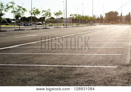 Empty parking lot , Parking lane outdoor in public park
