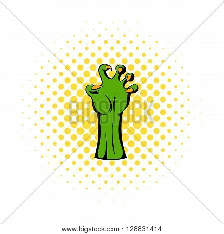 Witch green hand icon in comics style on a white background