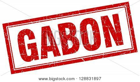 Gabon red square grunge stamp on white