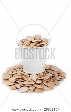 White bucket full of pumpkin seeds stands on a heap pumpkin on a white background