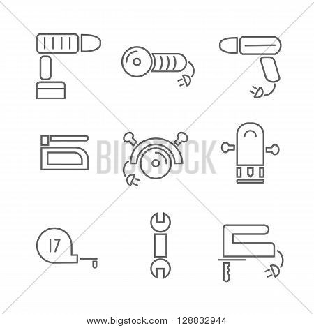 House remodel. Set tools of house renovation icons. Tools, equipment and furniture. Line style.Vector house remodel tools