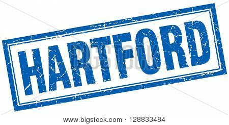 Hartford blue square grunge stamp on white