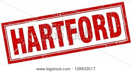 Hartford red square grunge stamp on white