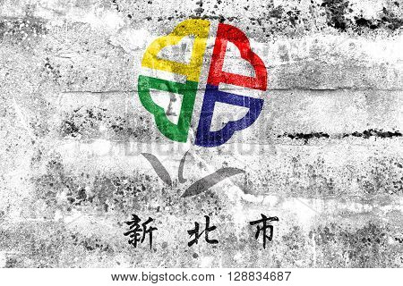 Flag Of New Taipei City, Taiwan, Painted On Dirty Wall. Vintage And Old Look.