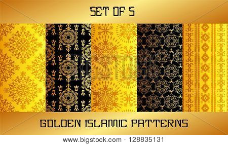 Arabic patterns set for backgrounds and textures with golden effect. v.2