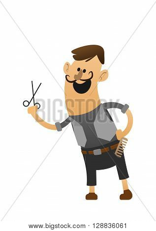 cartoon character cheerful stylist with scissors and comb